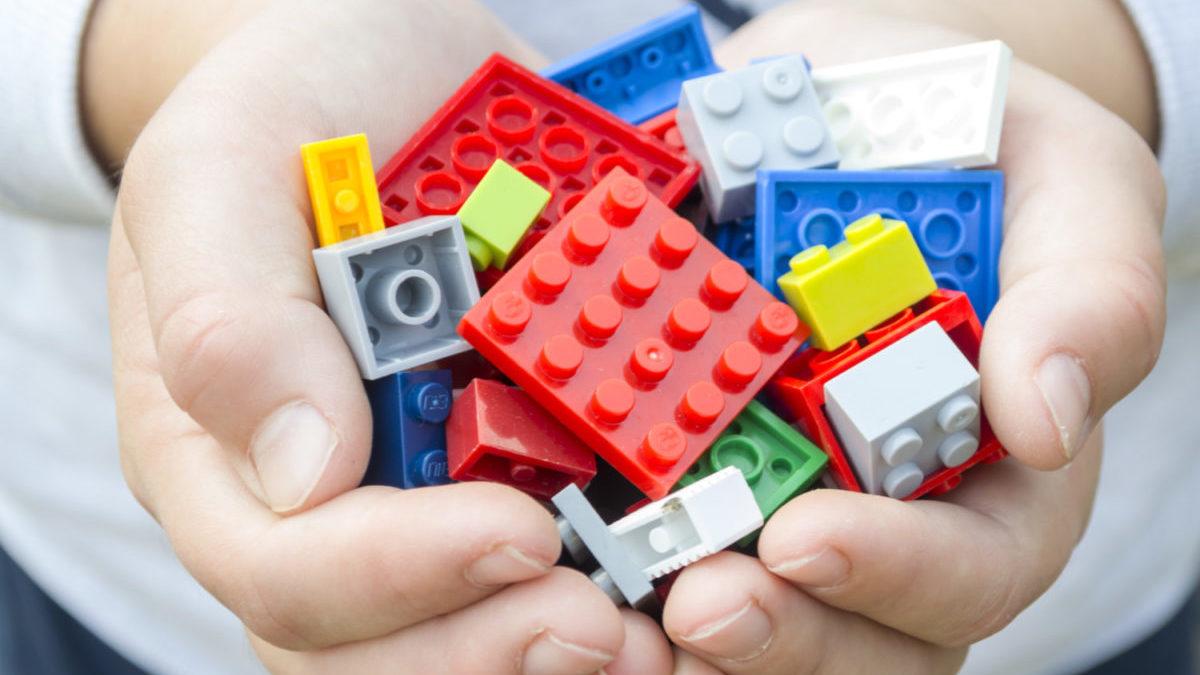 Lego bricks in child's hands
